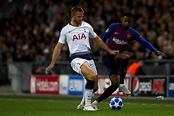 October 3, 2018 - London, England, United Kingdom - Eric Dier of Tottenham and Nelson Semedo of Barcelona  battle for the ball during the Group B match of the UEFA Champions League between Tottenham Hotspurs and FC Barcelona at Wembley Stadium on October 03, 2018 in London, England. (Credit Image: © Jose Breton/NurPhoto/ZUMA Press)