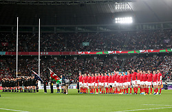 New Zealand and Wales players line up ahead of the 2019 Rugby World Cup bronze final match at Tokyo Stadium.