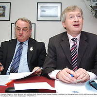 9 October 2007; President of the GAA Nickey Brennan, left, and Paraic Duffy, Player Welfare Manager, Cumann Luthchleas Gael, during the launch of GAA club fixtures and Report of the Task Force on Player Burnout. Croke Park, Dublin. Picture credit: Brian Lawless / SPORTSFILE
