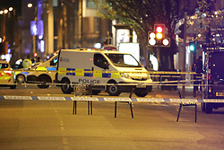 May 3, 2017 - Manchester, Greater Manchester, UK - Manchester, UK.   Police close off Deansgate in central Manchester following a shooting at the Living Room nightclub this evening  (Credit Image: © Joel Goodman/London News Pictures via ZUMA Wire)