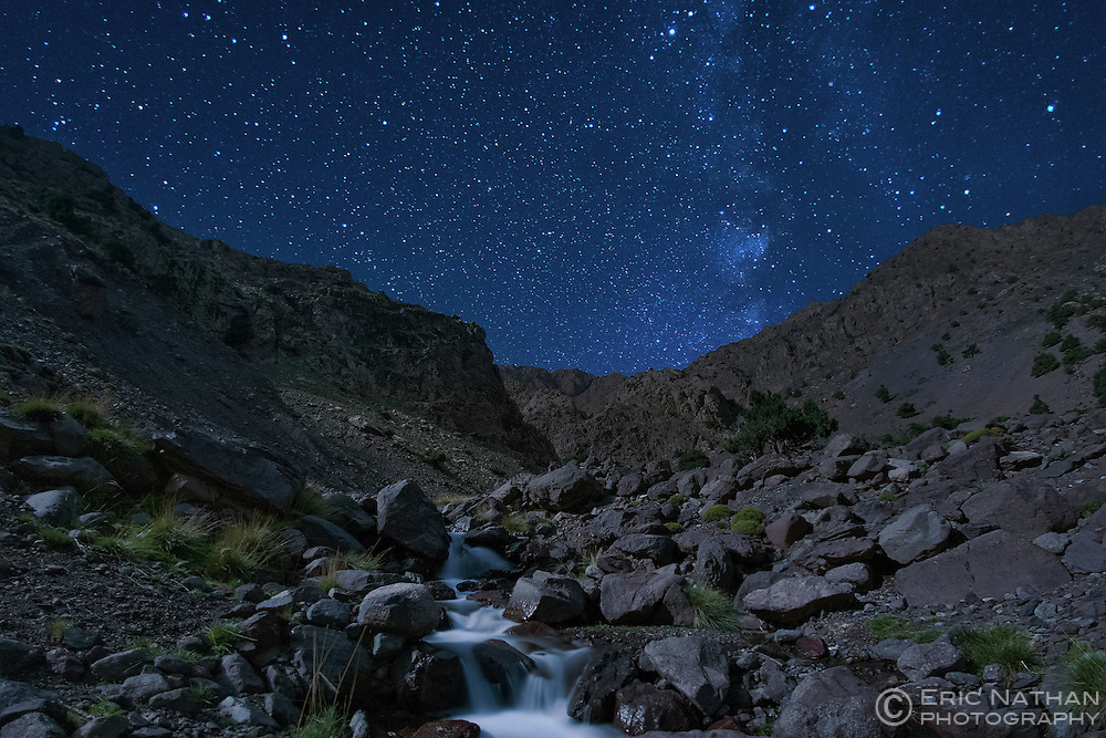 Moonlit landscape in the Tamsoult region of the Toubkal National Park in the Atlas mountains in Morocco.