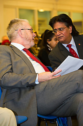 Pictured: Mike Russell and Shami Khan ELREC Vice Chair<br /> <br /> SNP Brexit minister Mike Russell spoke at an Edinburgh and Lothians Regional Equality Council event which aimed to facilitate discussion between service providers in the public and third sectors, and asylum seekers and refugees in order to hear about the circumstances and needs.<br /> <br /> Ger Harley | EEm 6 December 2016