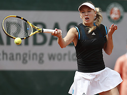 May 27, 2019, Paris, France: Caroline Wozniacki of Denmark competes during the women's singles first round match with Veronica Kudermetova of Russia at French Open tennis tournament 2019 at Roland Garros, in Paris. (Credit Image: © Xinhua via ZUMA Wire)