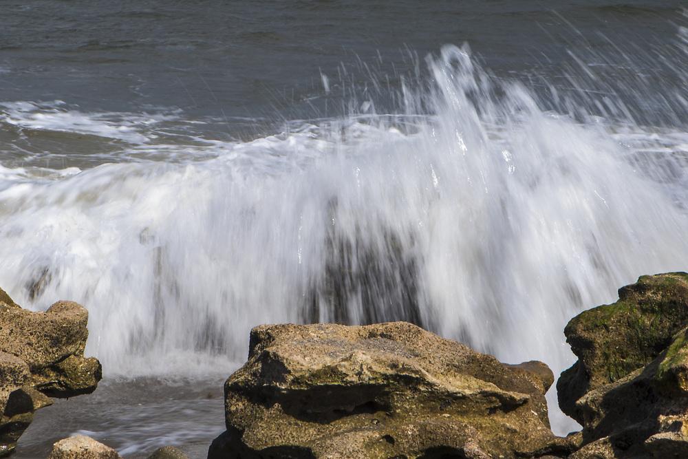 Oct. 31, 2017: Waves crash along the rocks at Blowing Rocks Preserve in Jupiter, FL. (www.douglasjonesphotography.com)