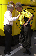 Bernie Ecclestone and Eddie Jordan. Grand Prix, Saturday, 28/4/01. Barcelona. 27 April 2001. © Copyright Photograph by Dafydd Jones 66 Stockwell Park Rd. London SW9 0DA Tel 020 7733 0108 www.dafjones.com