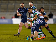 Sale Sharks Rob Du Preez and Sale Sharks lock Lood De Jager combine to tackle Newcastle Falcons centre Luther Burrell during a Gallagher Premiership Round 12 Rugby Union match, Friday, Mar 05, 2021, in Eccles, United Kingdom. (Steve Flynn/Image of Sport)