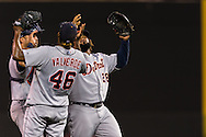 Prince Fielder (28) and Jose Valverde (46) celebrate after the Tigers defeated the Minnesota Twins on August 14, 2012 at Target Field in Minneapolis, Minnesota.  The Tigers defeated the Twins 8 to 4.  Photo: Ben Krause