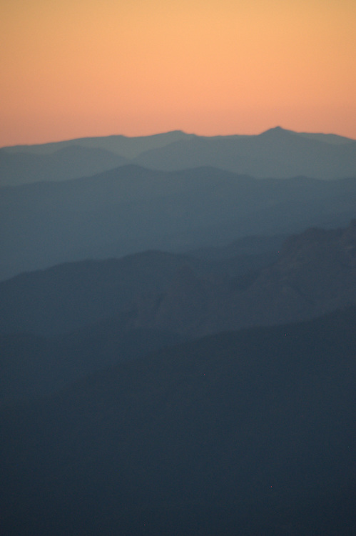 Looking South at Dusk from Panther Meadow, Mt. Shasta, Shasta-Trinity National Forest, California, US