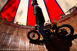 Ian Dupree of the California Hellriders takes his first public ride on the Wall of Death at the Iron Horse Saloon during Daytona Bike Week. Ormond Beach, FL. USA. Monday March 12, 2018. Photography ©2018 Michael Lichter.