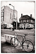 Bicycle in front of the Royal Albert, Crystal Palace, South London