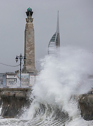 © Licensed to London News Pictures. 08/02/2019. Southsea, UK. Waves crash against the sea wall at Southsea, near Portsmouth. Storm Erik is hitting southern parts of the UK. Photo credit: Peter Macdiarmid/LNP