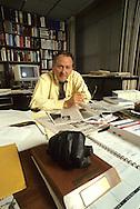 Columnist William Safire in his office  in November 1987..Photograph by Dennis Brack