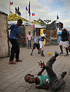 At Champ de Mars camp in downtown Port-au-Prince children play soccer during World Cup soccer week on May 25, 2010..