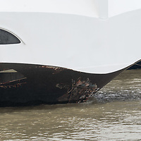 Hotel ship Viking Sigyn is seen moored with marks of a collision on it's nose as rescuers search for the wreck of a passenger boat in downtown Budapest, Hungary on May 30, 2019. ATTILA VOLGYI