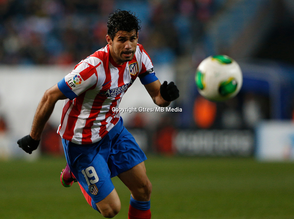 31.01.2013 SPAIN - Copa del Rey 12/13 Matchday 1/4  match played between Atletico de Madrid vs Sevilla Futbol Club (2-1) at Vicente Calderon stadium. The picture show  Diego da Silva Costa (Brazilian midfielder of At. Madrid)