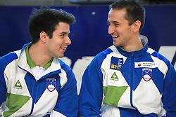 """Rok Klavora and Saso Bertoncelj at event """"Slovenian Gymnastics stars"""" after the European Championships in Milano, on April 6, 2009, in Hall Slovan, Kodeljevo, Ljubljana, Slovenia. (Photo by Vid Ponikvar / Sportida)"""