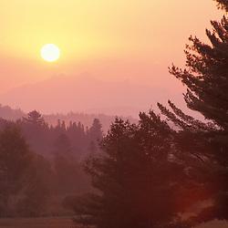 Island Pond, VT.Sunrise in the Nulhegan River valley.  Northeast Kingdom.  Northern Forest.