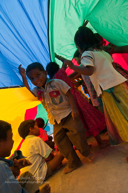 Group games are helpful for teaching teamwork at an early age.