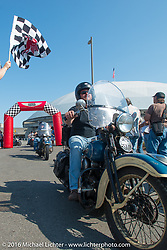 Matt McManus riding his 1936 Harley-Davidson Knucklehead over the finish line at the end of Stage 16 (142 miles) of the Motorcycle Cannonball Cross-Country Endurance Run, which on this day ran from Yakima to Tacoma, WA, USA. Sunday, September 21, 2014.  Photography ©2014 Michael Lichter.
