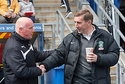 Falkirk's manager Peter Houston and Hibernian's manager Alan Stubbs at the start. <br /> Falkirk 0 v 3 Hibernian, Scottish Championship game played at The Falkirk Stadium 2/5/2015.