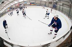 Klemen Pretnar (L) during practice session of Slovenian Ice Hockey National Team for IIHF World Championship in Sweden and Finland, on March 28, 2013, in Arena Zlato Polje, Kranj, Slovenia. (Photo by Vid Ponikvar / Sportida.com)