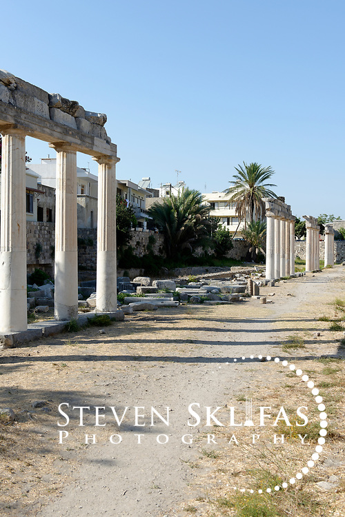 Kos Town.  View of the restored section of the West Gymnasium built during the Hellenistic period. Kos is part of the Dodecanese island group and birthplace of the ancient physician and father of medicine, Hippocrates.