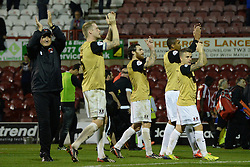 Leyton Orient's manager Russell Slade and his team applaud the fans  - Photo mandatory by-line: Mitchell Gunn/JMP - Tel: Mobile: 07966 386802 23/09/2013 - SPORT - FOOTBALL -  Griffin Park - London - Brentford v Leyton Orient - Sky Bet League One