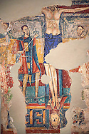 Twelfth Century Romanesque fresco of the soldier spearing the side of Jesus on the cross of Calvary from the church of Santa Maria de Taull, La Vall de Boi, Alta Ribagorca, Spain. National Art Museum of Catalonia, Barcelona. MNAC 3915 .<br /> <br /> If you prefer you can also buy from our ALAMY PHOTO LIBRARY  Collection visit : https://www.alamy.com/portfolio/paul-williams-funkystock/romanesque-art-antiquities.html<br /> Type -     MNAC     - into the LOWER SEARCH WITHIN GALLERY box. Refine search by adding background colour, place, subject etc<br /> <br /> Visit our ROMANESQUE ART PHOTO COLLECTION for more   photos  to download or buy as prints https://funkystock.photoshelter.com/gallery-collection/Medieval-Romanesque-Art-Antiquities-Historic-Sites-Pictures-Images-of/C0000uYGQT94tY_Y