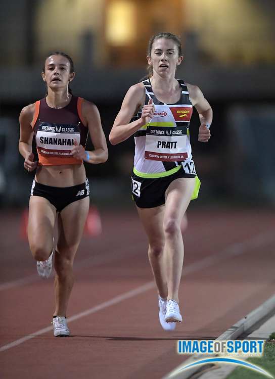 May 17, 2018; Los Angeles, CA, USA; Danielle Shanahan (left) and Olivia Pratt run in the women's 5,000m during the USATF Distance Classic at Occidental College.