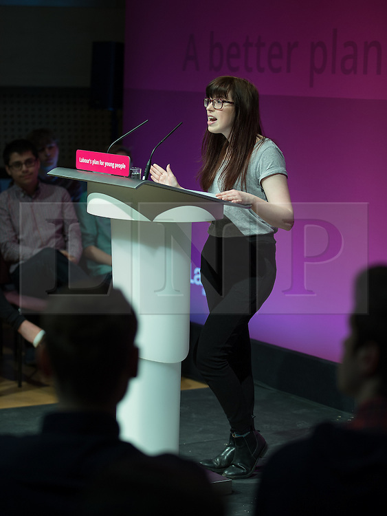 © Licensed to London News Pictures . 27/02/2015 . Leeds , UK . RACHEL HOLLAND , newly elected President of Leicester Students' Union introduces Ed Miliband at the launch of the Labour Party's fourth election pledge at a speech on young people . British Labour Party leader Ed Miliband and Shadow Chancellor Ed Balls at Leeds College of Music today ( Friday 27th February 2015 ) . Photo credit : Joel Goodman/LNP