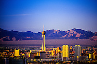 The Stratosphere seen from the south end of the Strip (the Mandalay Bay), Las Vegas, Nevada USA