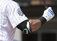 CHICAGO - APRIL 15:  A detailed view of a Franklin batting glove and an EvoShield elbow protector as worn by Adam Eaton #42 of the Chicago White Sox as he bats against the Cleveland Indians as Major League Baseball celebrated Jackie Robinson Day on April 15, 2021 at Guaranteed Rate Field in Chicago, Illinois.  (Photo by Ron Vesely/Getty Images).  (Photo by Ron Vesely) Subject:  Adam Eaton
