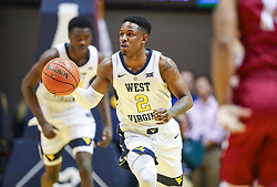 Nov 28, 2018; Morgantown, WV, USA; West Virginia Mountaineers guard Brandon Knapper (2) dribbles the ball up the floor during the second half against the Rider Broncs at WVU Coliseum. Mandatory Credit: Ben Queen-USA TODAY Sports