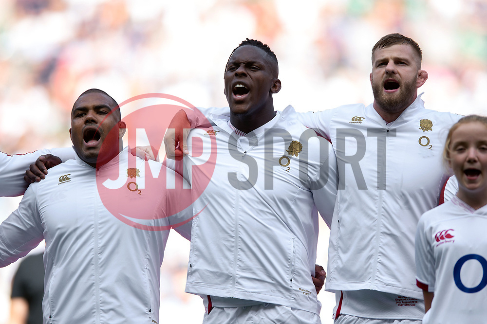 Kyle Sinckler, Maro Itoje and George Kruis of England sing the national anthem - Mandatory byline: Patrick Khachfe/JMP - 07966 386802 - 24/08/2019 - RUGBY UNION - Twickenham Stadium - London, England - England v Ireland - Quilter International