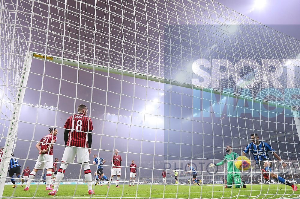 AC Milan players reacts after conceding a goal to Matias Vecino of Inter to make the scoreline 3-2 in favour of their opponents during the Serie A match at Giuseppe Meazza, Milan. Picture date: 9th February 2020. Picture credit should read: Jonathan Moscrop/Sportimage