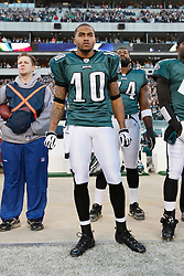 Philadelphia Eagles wide receiver DeSean Jackson #10 in the bench area during the NFL game between the Denver Broncos and the Philadelphia Eagles on December 27th 2009. The Eagles won 30-27 at Lincoln Financial Field in Philadelphia, Pennsylvania. (Photo By Brian Garfinkel)