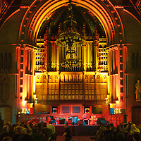 The stage is set for the closing event of the Thirty One Songs project at Manchester Town Hall, Albert Square, Manchester, United Kingdom, 2013-03-03
