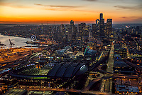 Safeco & CenturyLink Fields and Seattle Skyline @ Sunset
