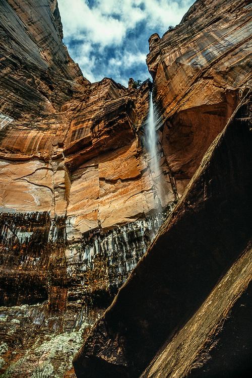 Falls above Upper Emerald Pool, Zion National Park, Utah, USA