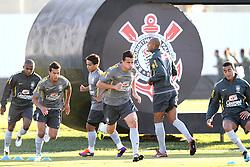 Jogadores da Seleção Brasileira de Futebol, durante treino no C T do Corinthians, em São Paulo. FOTO: Jefferson Bernardes/Preview.com