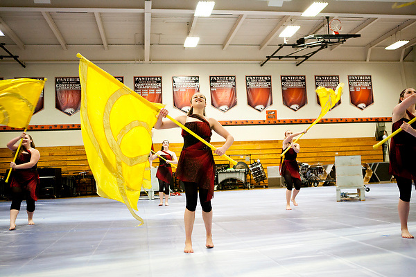 Shadow Armada Indoor Percussion and Armada Winterguards perform their thank you show at Oregon High School in Oregon, Wisconsin on March 18, 2012.