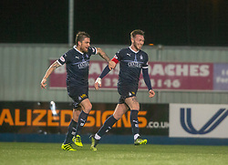 Falkirk's Jordan McGhee celebrates after scoring their second goal. Falkirk 2 v 0 Ayr United, Scottish Championship game played 8/3/2019 at The Falkirk Stadium.