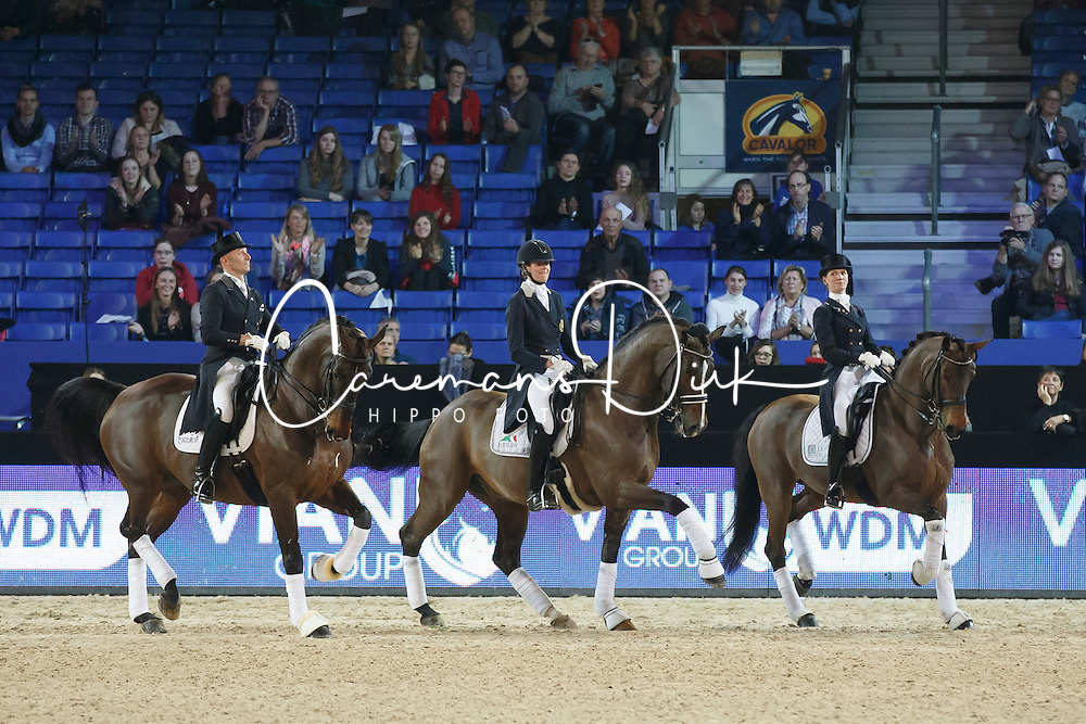 Lap of honor Belgian riders <br /> Jeroen Devroe - Eres DL, Jorinde Verwimp - Tiamo, Fanny Verliefden -  Annarico<br /> Grand Prix Kur Vian Group WDM<br /> Vlaanderen Kerstjumping - Memorial Eric Wauters - <br /> Mechelen 2015<br /> © Hippo Foto - Dirk Caremans<br /> 28/12/15