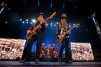 Dusty Hill and Billy Gibbons of ZZ Top perform on stage at Prospera Place in Kelowna, B.C., Canada
