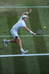 July 9, 2018 - London, England, U.S. - LONDON, ENG - JULY 09: KEVIN ANDERSON (RSA) during day seven match of the 2018 Wimbledon on July 9, 2018, at All England Lawn Tennis and Croquet Club in London,England. (Photo by Chaz Niell/Icon Sportswire) (Credit Image: © Chaz Niell/Icon SMI via ZUMA Press)
