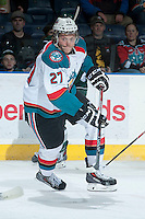KELOWNA, CANADA - JANUARY 22: Ryan Olsen #27 of the Kelowna Rockets skates against the Everett Silvertips on January 22, 2014 at Prospera Place in Kelowna, British Columbia, Canada.   (Photo by Marissa Baecker/Getty Images)  *** Local Caption *** Ryan Olsen;