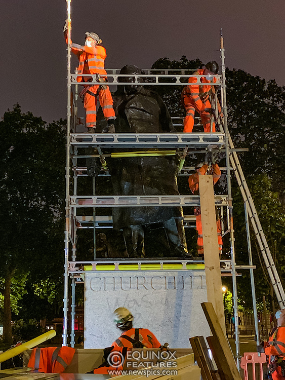 London, United Kingdom - 11 June 2020<br /> Winston Churchill statue being covered in protective scaffolding and sheet metal following Black Lives Matter protests, Parliament Square, London, England, UK.<br /> (photo by: EQUINOXFEATURES.COM)<br /> Picture Data:<br /> Photographer: Equinox Features<br /> Copyright: ©2020 Equinox Licensing Ltd. +443700 780000<br /> Contact: Equinox Features<br /> Date Taken: 20200611<br /> Time Taken: 221152<br /> www.newspics.com