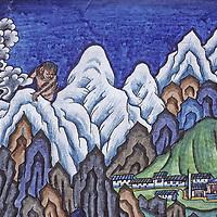 NEPAL, HIMALAYA. Sherpa painting by artist Kappa Kalden, depicting a yeti beside Pangboche Monastery & Mount Everest, Khumbu region.