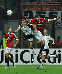 28.09.2011, Stadion Giuseppe Meazza, Mailand, ITA, UEFA CL, Gruppe H, ITA, UEFA CL, AC Mailand (ITA) vs FC Viktoria Pilsen (CZE), im Bild Thiaso SILVA Milan (R). // during the UEFA Champions League game, group H, AC Mailand (ITA) vs FC Viktoria Pilsen (CZE) at Giuseppe Meazza stadium in Mailand, Italy on 2011/09/28. EXPA Pictures © 2011, PhotoCredit: EXPA/ InsideFoto/ Alessandro Sabattini +++++ ATTENTION - FOR AUSTRIA/(AUT), SLOVENIA/(SLO), SERBIA/(SRB), CROATIA/(CRO), SWISS/(SUI) and SWEDEN/(SWE) CLIENT ONLY +++++