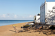 Beach erosion damage Corcega Beach in Rincon, Puerto Rico.